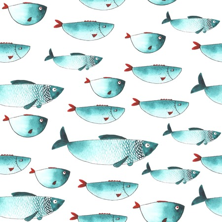 Pattern with Watercolor funny fishes. All object made in vector. Each one is separately.