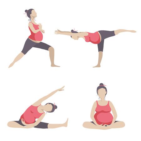 Ilustración de Yoga for pregnant women. Vector set object isolated on white background. - Imagen libre de derechos