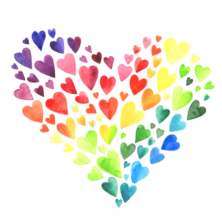 Illustration pour Set of watercolor hearts. Colors of rainbow. illustration. - image libre de droit
