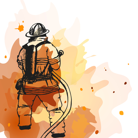 Illustration for Firefighter with a hose sign. Illustration. Great for any fire safety design  - Royalty Free Image