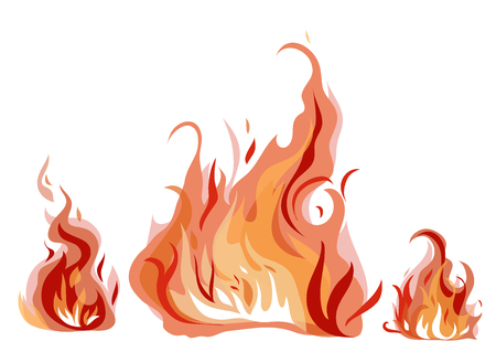 Illustration for Bright fire flames with sparks isolated on white background. Vector illustration. - Royalty Free Image