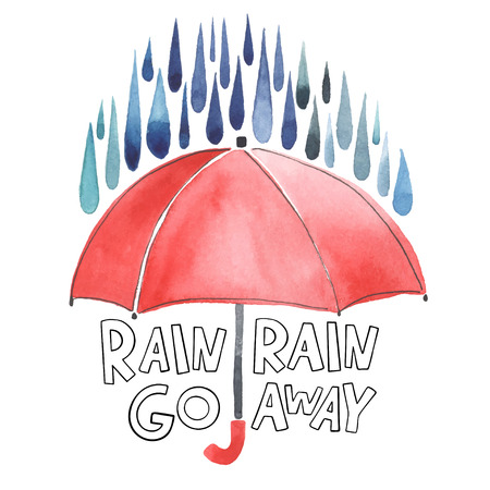 Illustration for Watercolor red umbrella under rain. Stylized blue grey drops. Lettering with words Rain-rain go away. Original watercolor illustration. - Royalty Free Image