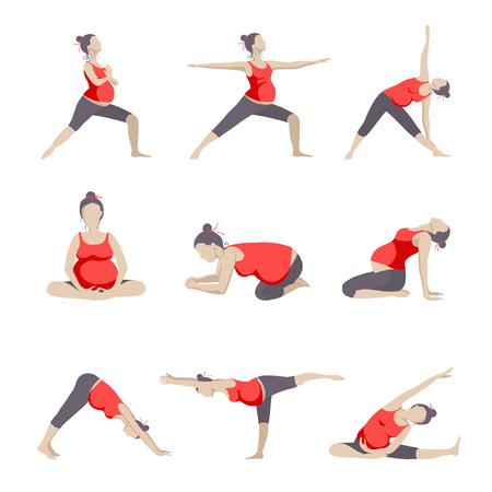 Ilustración de Set of 9 Yoga poses for Pregnant women. Prenatal exercise. - Imagen libre de derechos