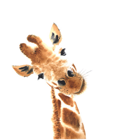 Illustration pour Artistic watercolor giraffe. Close-up. - image libre de droit