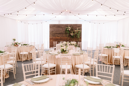 Photo for Wedding decorated restaurant in light colors and rustic style - Royalty Free Image