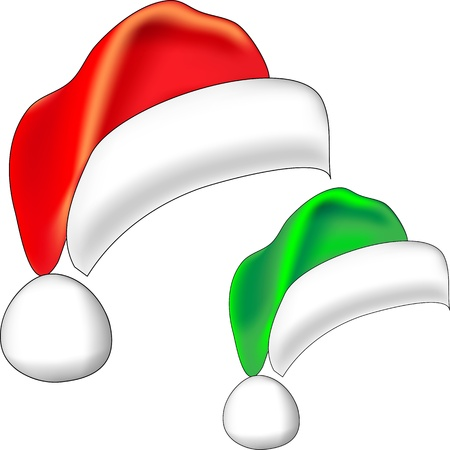 Christmas red Santa Claus hat and Christmas elf green bell isolated on white background