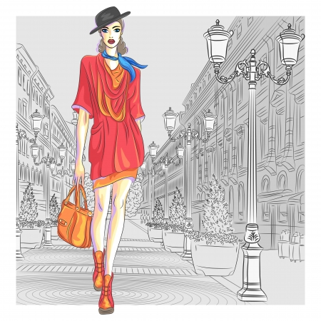 Photo pour Attractive fashion girl in hat with bag in sketch-style goes for St  Petersburg - image libre de droit