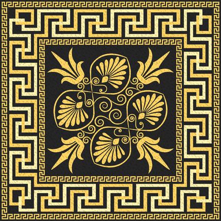 Illustration pour Traditional vintage golden square Greek ornament  Meander  and floral pattern on a black background - image libre de droit