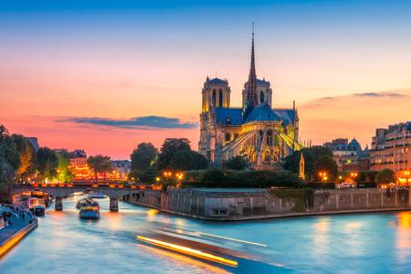 Foto de Cathedral of Notre Dame de Paris at sunset, France - Imagen libre de derechos