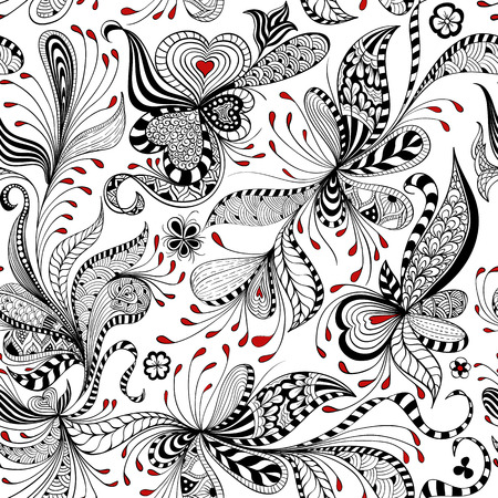Illustration for vector seamless black, red and white pattern of spirals, swirls, doodles - Royalty Free Image