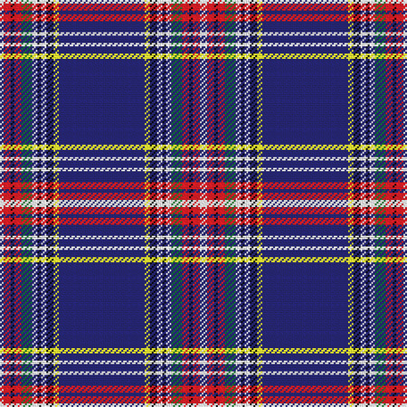 Illustration pour vector seamless pattern Scottish tartan, blue and green,  yellow and red - image libre de droit