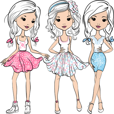 Ilustración de Set cute smiling fashion girls in pink, white and blue skirts and shirts - Imagen libre de derechos