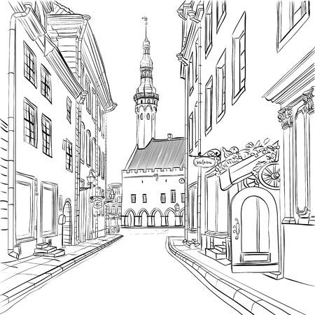 Illustration pour Picturesque view of Town Hall in Medieval Old Town, Tallinn, Estonia - image libre de droit