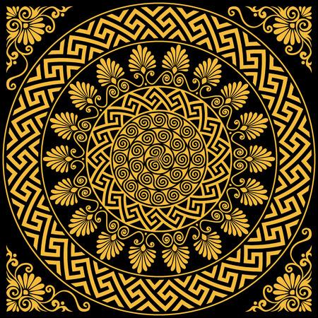 Illustration for set Traditional vintage golden round Greek ornament Meander and floral pattern on a black background - Royalty Free Image