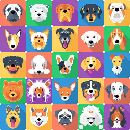 Ilustración de seamless background with dogs icon flat design - Imagen libre de derechos