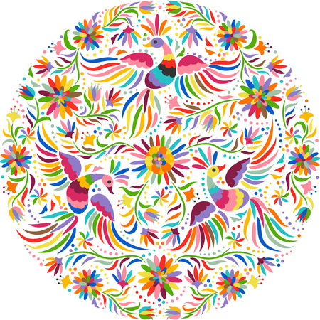 Illustration for Mexican embroidery round pattern. Colorful and ornate ethnic pattern. Birds and flowers light background. Floral background with bright ethnic ornament. - Royalty Free Image