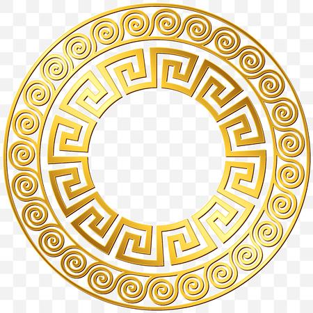 Illustration for Round frame with traditional vintage Golden Greek ornament, Meander pattern on transparent background. Gold pattern for decorative tiles - Royalty Free Image