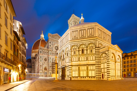 Photo for Famous Duomo Santa Maria Del Fiore and Baptistery on the Piazza del Duomo in the morning in Florence, Tuscany, Italy - Royalty Free Image