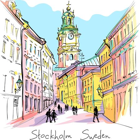 Illustration for Vector sketch of Church of St Nicholas, Stockholm Cathedral or Storkyrkan at night, Gamla Stan in Old Town of Stockholm, the capital of Sweden - Royalty Free Image