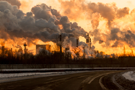 Photo for Power plant with smoke and dirty orange air - Royalty Free Image