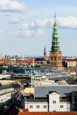 Photo pour Aerial cityscape of the Holy Trinity from the top of the river, Oresund Bridge - image libre de droit