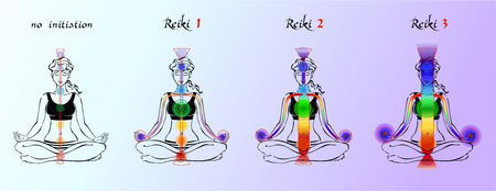 Illustrazione per Reiki. Expansion of energy. Initiation. Energy flow. Reiki the first stage. Second stage. Third stage. Increase of energy flow. Vector. - Immagini Royalty Free