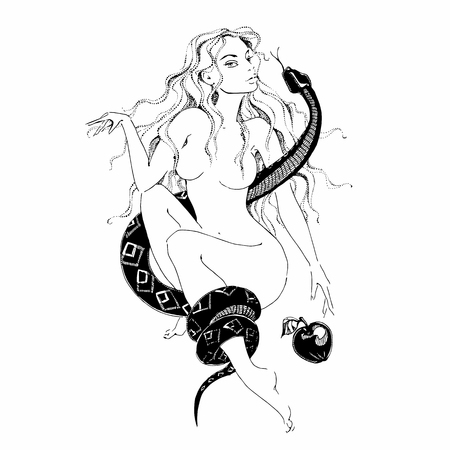 Illustrazione per Girl with a snake and an apple. Eve.Graphics. Tattoo . Vector - Immagini Royalty Free