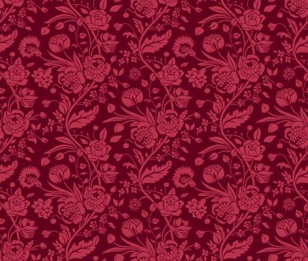 Illustration pour Claret seamless pattern with a vintage flower bouquets carnations and chrysanthemums - image libre de droit
