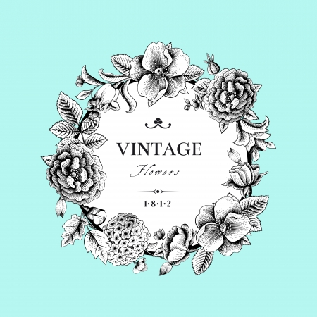 Illustration pour Beautiful card with a round wreath of different flowers of vintage garden - image libre de droit