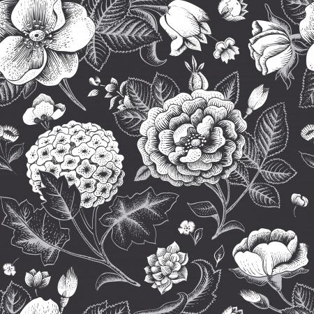Ilustración de Beautiful vintage floral seamless pattern - Imagen libre de derechos