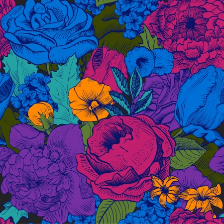 Illustration pour Seamless vintage pattern with lush colorful flowers - image libre de droit
