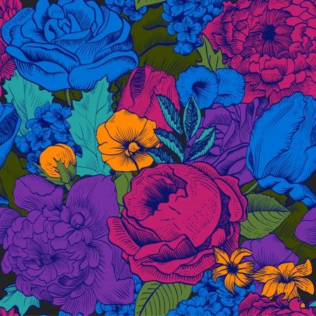 Ilustración de Seamless vintage pattern with lush colorful flowers - Imagen libre de derechos