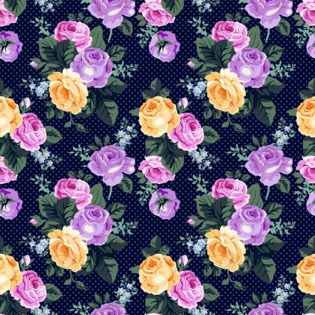 Illustration pour Seamless pattern with vintage roses - image libre de droit