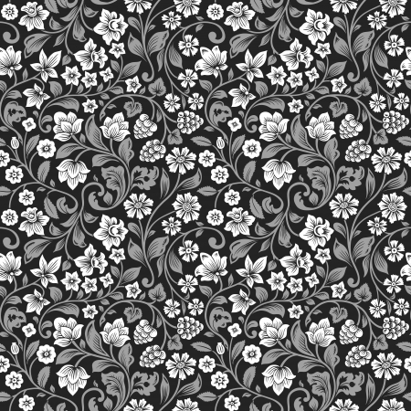 Illustration pour Vector seamless vintage floral pattern. Stylized silhouettes of flowers and berries on a black background. White flowers with gray leaves.  - image libre de droit
