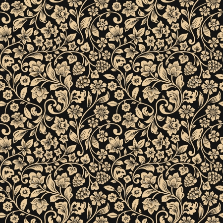 Foto per Vector seamless vintage floral pattern. Stylized silhouettes of flowers and berries on a gray background. Beige flowers.  - Immagine Royalty Free