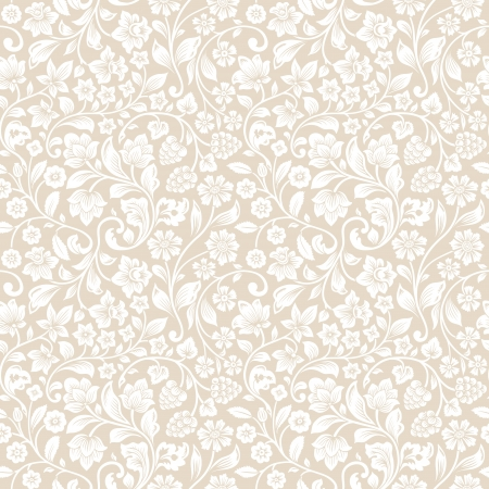 Illustration pour Vector seamless vintage floral pattern. Stylized silhouettes of flowers and berries on a beige background. White flowers.  - image libre de droit