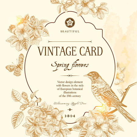 Photo pour Spring floral vector vintage card with a branch of blossoming apple trees and a bird. Illustration brown on beige background. Victorian style. - image libre de droit