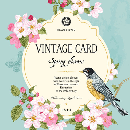 Illustration pour Vintage vector card spring  Bird on a branch of apple blossoms pink flowers on mint background  - image libre de droit