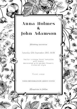 Illustration pour Vector vertical vintage floral wedding elegant card with frame of black garden flowers on white background  Monochrome  Design template  - image libre de droit