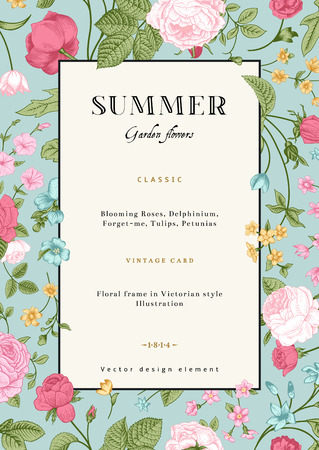 Ilustración de Summer vertical vector vintage card with colorful garden flowers  Roses, forget-me, delphinium on mint background  Design template  - Imagen libre de derechos