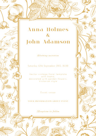 Ilustración de Vector vertical vintage floral wedding elegant card with frame of gold garden flowers on white background  Design template  - Imagen libre de derechos
