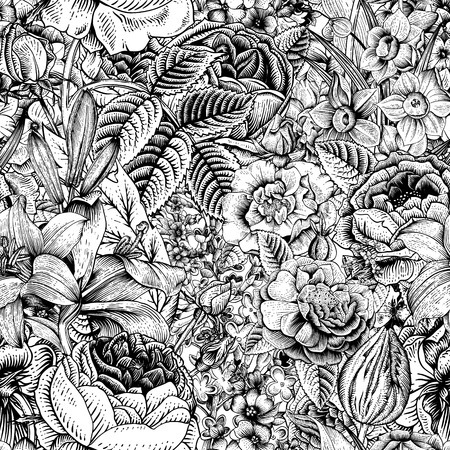 Illustration pour Summer seamless floral pattern. Vintage flowers Art. Black and white graphics. Roses, lilies, daffodils, tulips and delphinium. Monochrome. - image libre de droit