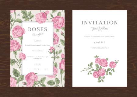 Illustration for Floral vector vertical vintage invitation. Set. Pink Garden Roses. - Royalty Free Image