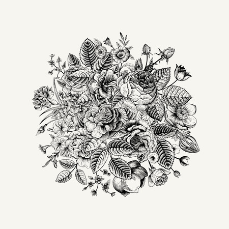 Illustration pour Vintage floral vector bouquet with Black & White summer garden flowers. - image libre de droit
