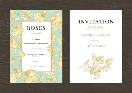 Ilustración de Floral vector vertical vintage invitation. Set. Gold Garden Roses on mint background. - Imagen libre de derechos