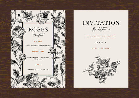 Illustration for Floral vector vertical vintage invitation. Set. Black and white Garden Roses. - Royalty Free Image
