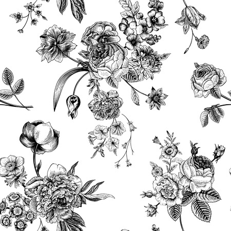 Illustration pour Seamless vector vintage pattern with Victorian bouquet of black flowers on a white background. Garden roses, tulips, delphinium, petunia. Monochrome. - image libre de droit