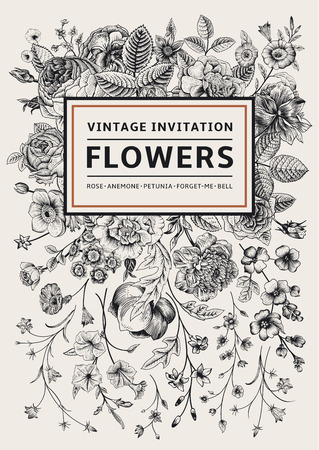 Ilustración de Vertical invitation. Vintage greeting card with garden flowers. Black and white vector with a gold frame. - Imagen libre de derechos