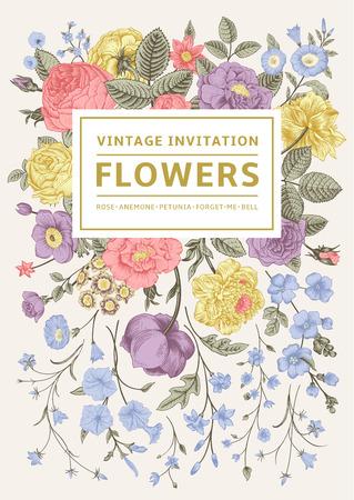 Illustration pour Vertical invitation. Vintage greeting card with colorful flowers. Vector illustration. Pastel color. - image libre de droit