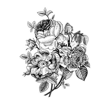 Illustration pour Floral card. Bouquet of roses, dogrose and anemone. Vintage vector illustration. Classic. Black and white. - image libre de droit